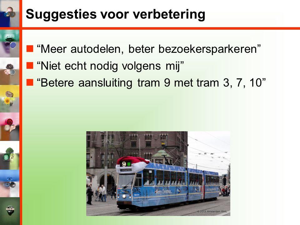 """Suggesties voor verbetering  """"Meer autodelen, beter bezoekersparkeren""""  """"Niet echt nodig volgens mij""""  """"Betere aansluiting tram 9 met tram 3, 7, 10"""