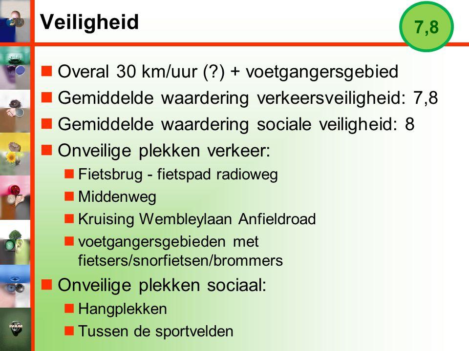Veiligheid  Overal 30 km/uur (?) + voetgangersgebied  Gemiddelde waardering verkeersveiligheid: 7,8  Gemiddelde waardering sociale veiligheid: 8 