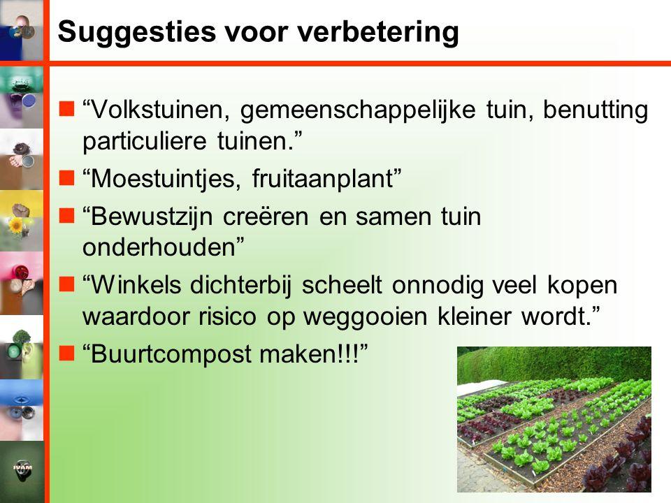 """Suggesties voor verbetering  """"Volkstuinen, gemeenschappelijke tuin, benutting particuliere tuinen.""""  """"Moestuintjes, fruitaanplant""""  """"Bewustzijn cre"""
