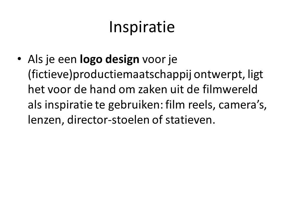 Inspiratie • Als je een logo design voor je (fictieve)productiemaatschappij ontwerpt, ligt het voor de hand om zaken uit de filmwereld als inspiratie