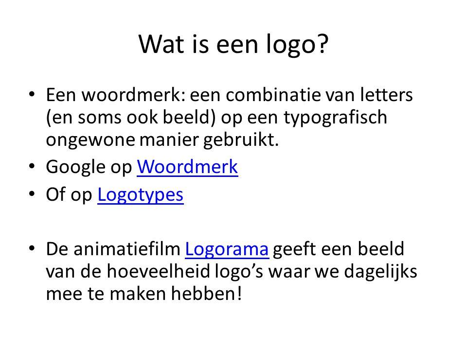 Wat is een logo? • Een woordmerk: een combinatie van letters (en soms ook beeld) op een typografisch ongewone manier gebruikt. • Google op WoordmerkWo