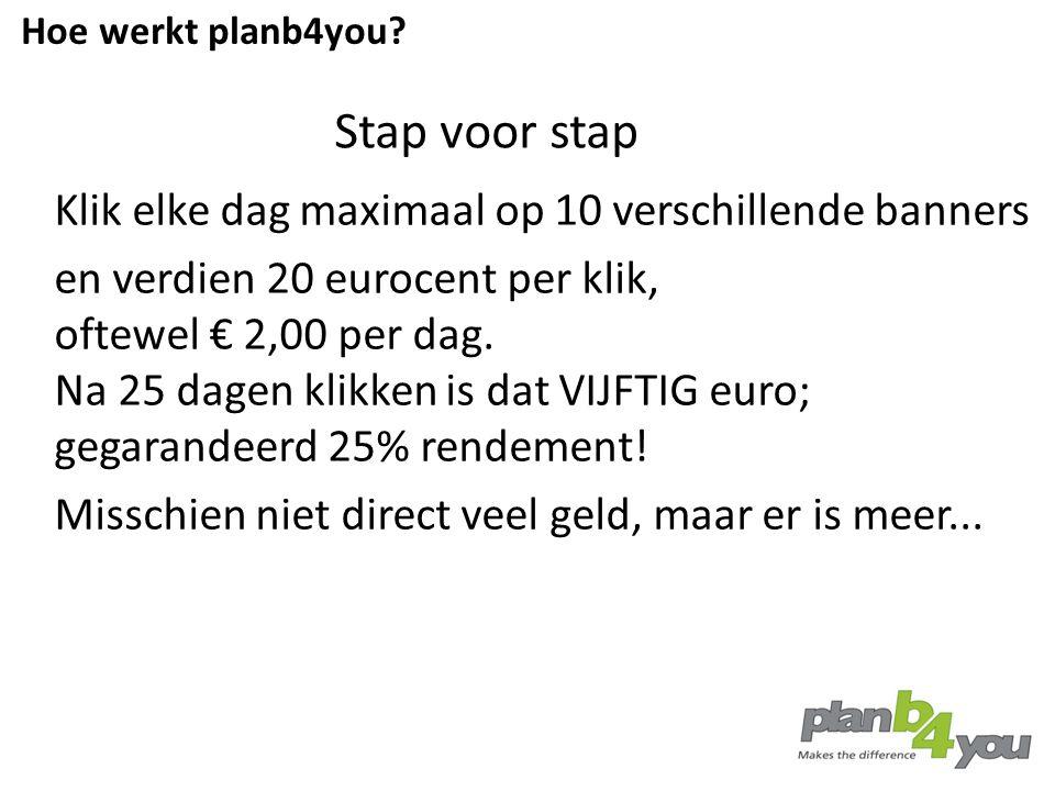 Stap voor stap Klik elke dag maximaal op 10 verschillende banners en verdien 20 eurocent per klik, oftewel € 2,00 per dag. Na 25 dagen klikken is dat