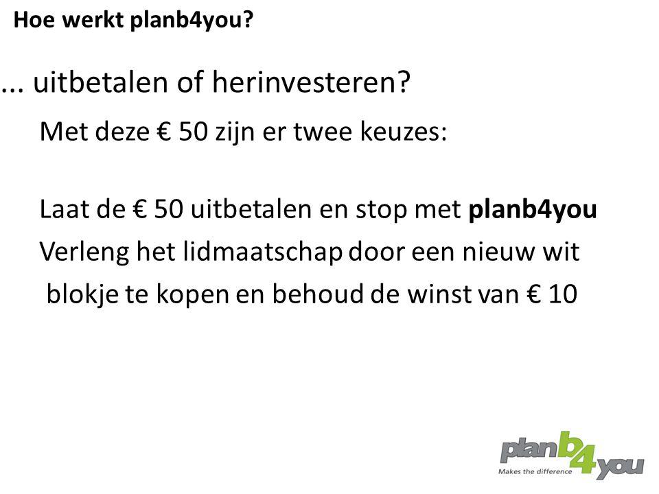 Hoe werkt planb4you?... uitbetalen of herinvesteren? Met deze € 50 zijn er twee keuzes: Laat de € 50 uitbetalen en stop met planb4you Verleng het lidm