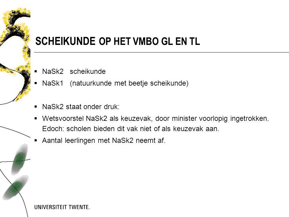  NaSk2 scheikunde  NaSk1 (natuurkunde met beetje scheikunde)  NaSk2 staat onder druk:  Wetsvoorstel NaSk2 als keuzevak, door minister voorlopig in