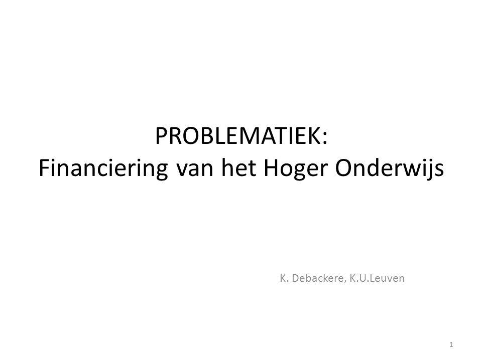 PROBLEMATIEK: Financiering van het Hoger Onderwijs K. Debackere, K.U.Leuven 1