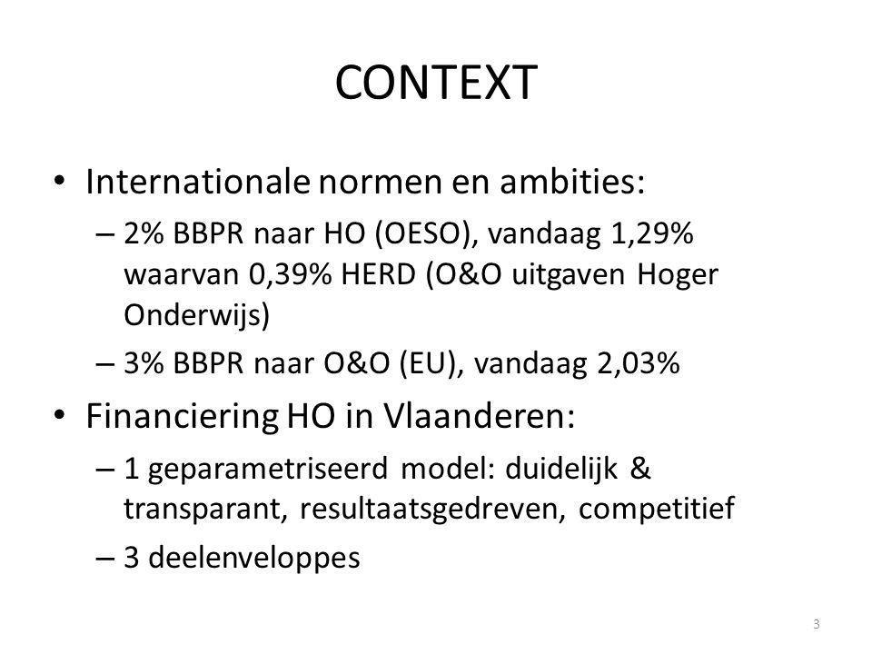 CONTEXT • Internationale normen en ambities: – 2% BBPR naar HO (OESO), vandaag 1,29% waarvan 0,39% HERD (O&O uitgaven Hoger Onderwijs) – 3% BBPR naar O&O (EU), vandaag 2,03% • Financiering HO in Vlaanderen: – 1 geparametriseerd model: duidelijk & transparant, resultaatsgedreven, competitief – 3 deelenveloppes 3