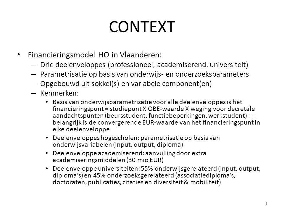CONTEXT • Financieringsmodel HO in Vlaanderen: – Drie deelenveloppes (professioneel, academiserend, universiteit) – Parametrisatie op basis van onderwijs- en onderzoeksparameters – Opgebouwd uit sokkel(s) en variabele component(en) – Kenmerken: • Basis van onderwijsparametrisatie voor alle deelenveloppes is het financieringspunt = studiepunt X OBE-waarde X weging voor decretale aandachtspunten (beursstudent, functiebeperkingen, werkstudent) --- belangrijk is de convergerende EUR-waarde van het financieringspunt in elke deelenveloppe • Deelenveloppes hogescholen: parametrisatie op basis van onderwijsvariabelen (input, output, diploma) • Deelenveloppe academiserend: aanvulling door extra academiseringsmiddelen (30 mio EUR) • Deelenveloppe universiteiten: 55% onderwijsgerelateerd (input, output, diploma's) en 45% onderzoeksgerelateerd (associatiediploma's, doctoraten, publicaties, citaties en diversiteit & mobiliteit) 4