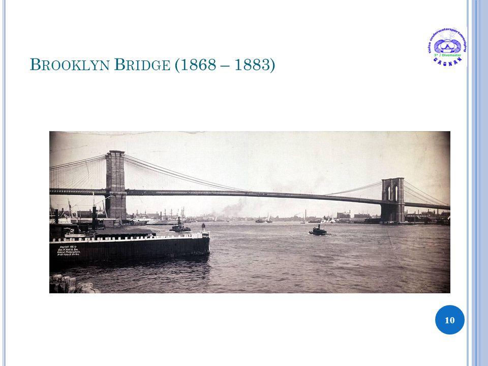 B ROOKLYN B RIDGE (1868 – 1883) 10