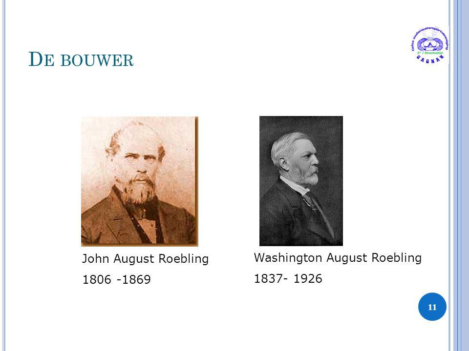 D E BOUWER 11 John August Roebling 1806 -1869 Washington August Roebling 1837- 1926