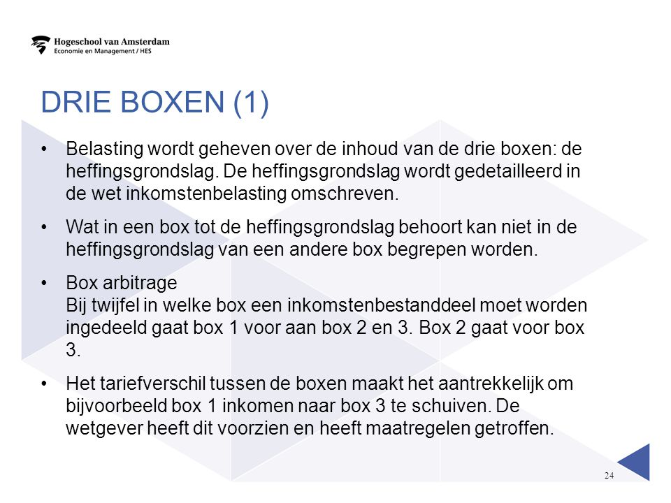24 DRIE BOXEN (1) •Belasting wordt geheven over de inhoud van de drie boxen: de heffingsgrondslag. De heffingsgrondslag wordt gedetailleerd in de wet