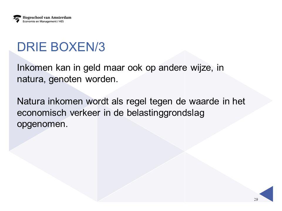 29 DRIE BOXEN/3 Inkomen kan in geld maar ook op andere wijze, in natura, genoten worden. Natura inkomen wordt als regel tegen de waarde in het economi
