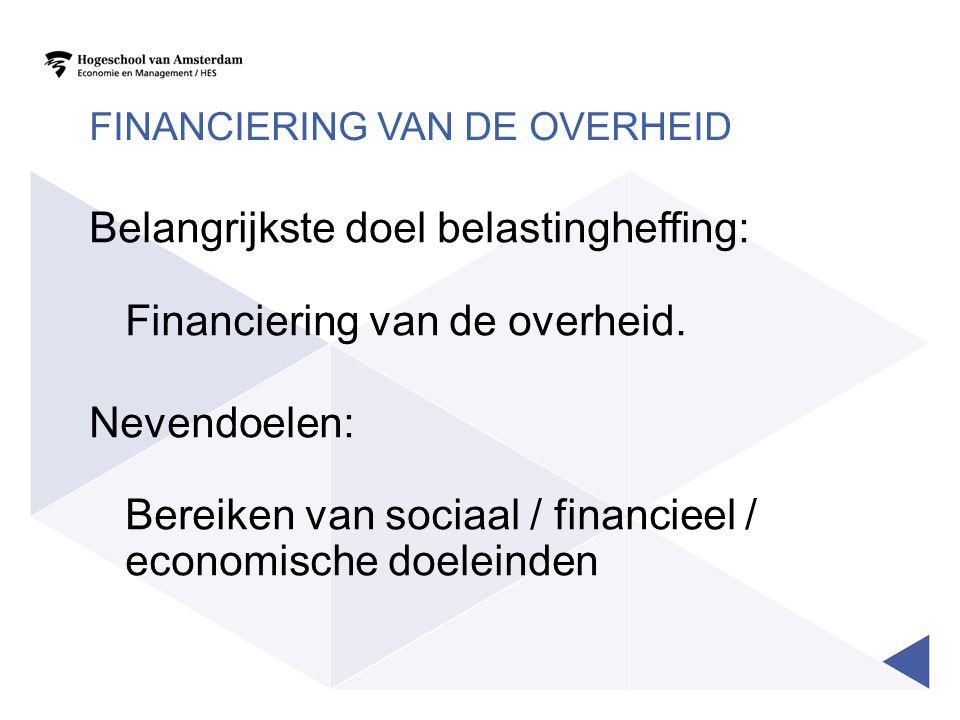 FINANCIERING VAN DE OVERHEID Belangrijkste doel belastingheffing: Financiering van de overheid. Nevendoelen: Bereiken van sociaal / financieel / econo