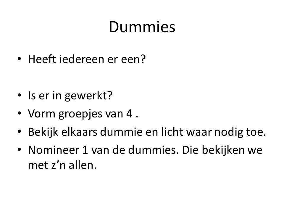 Dummies • Heeft iedereen er een? • Is er in gewerkt? • Vorm groepjes van 4. • Bekijk elkaars dummie en licht waar nodig toe. • Nomineer 1 van de dummi