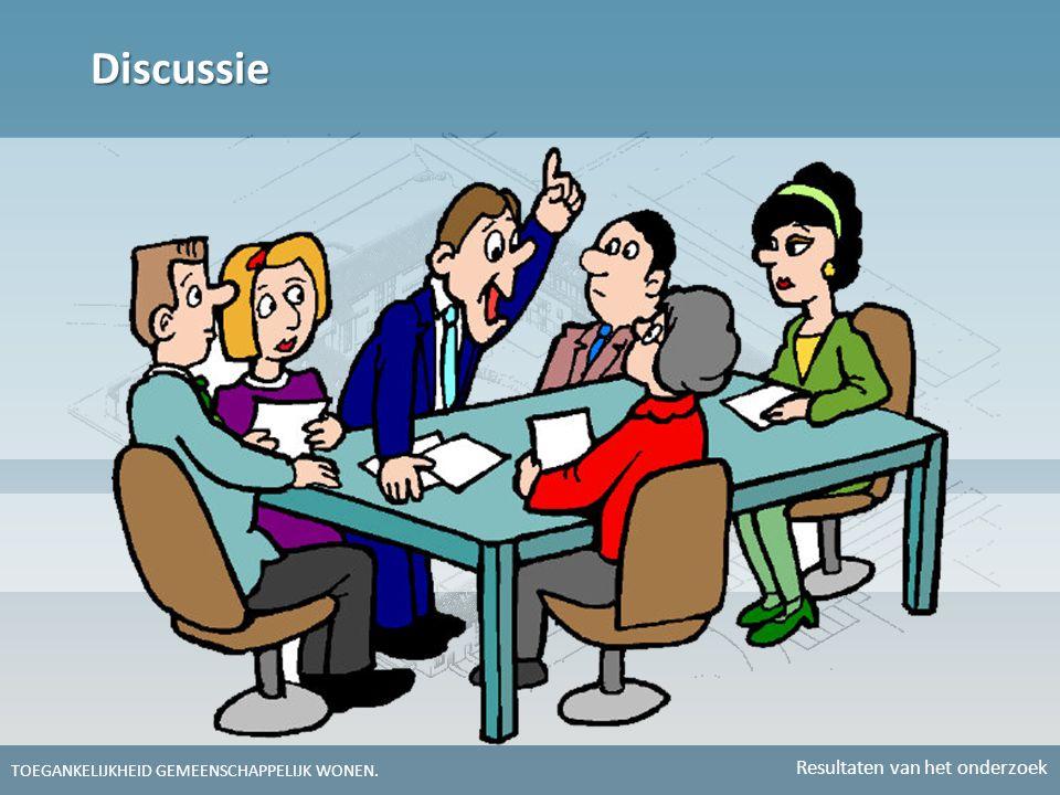 Discussie TOEGANKELIJKHEID GEMEENSCHAPPELIJK WONEN. Resultaten van het onderzoek