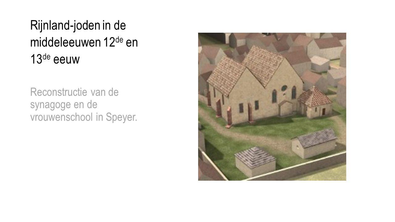 Rijnland-joden in de middeleeuwen 12 de en 13 de eeuw Reconstructie van de synagoge en de vrouwenschool in Speyer.