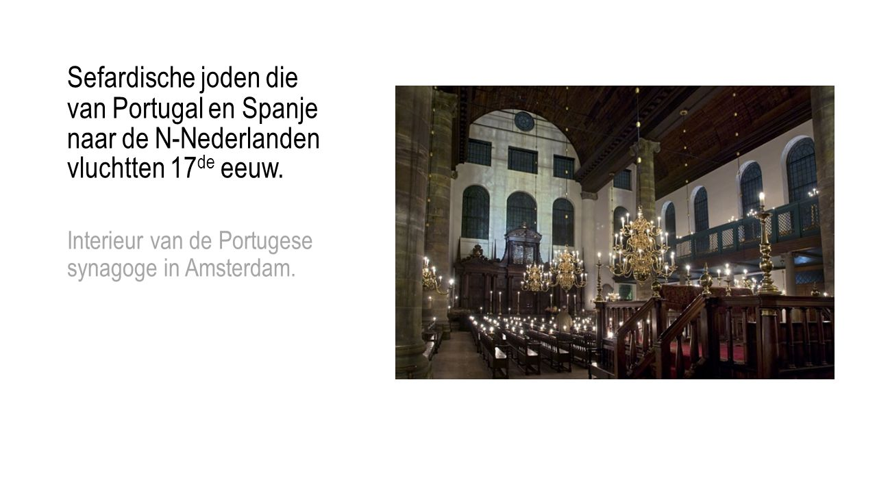 Interieur van de Portugese synagoge in Amsterdam.