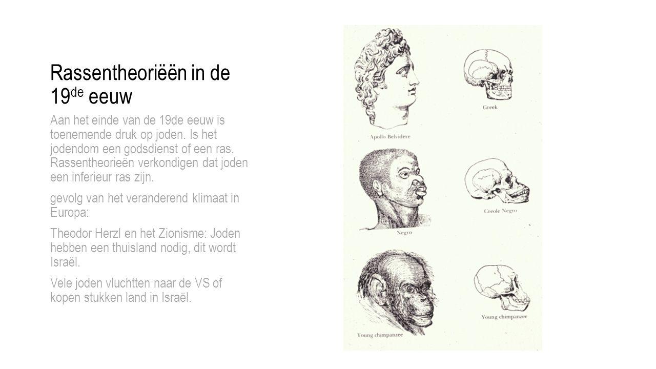 Rassentheoriëën in de 19 de eeuw Aan het einde van de 19de eeuw is toenemende druk op joden.