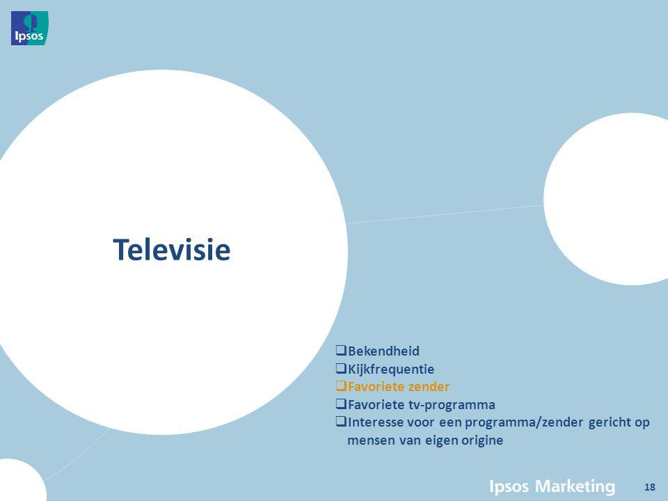Televisie  Bekendheid  Kijkfrequentie  Favoriete zender  Favoriete tv-programma  Interesse voor een programma/zender gericht op mensen van eigen origine 18