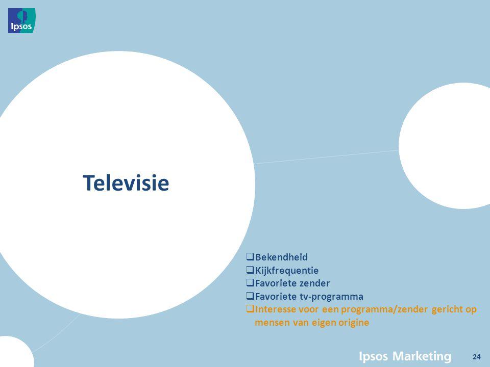 Televisie  Bekendheid  Kijkfrequentie  Favoriete zender  Favoriete tv-programma  Interesse voor een programma/zender gericht op mensen van eigen origine 24