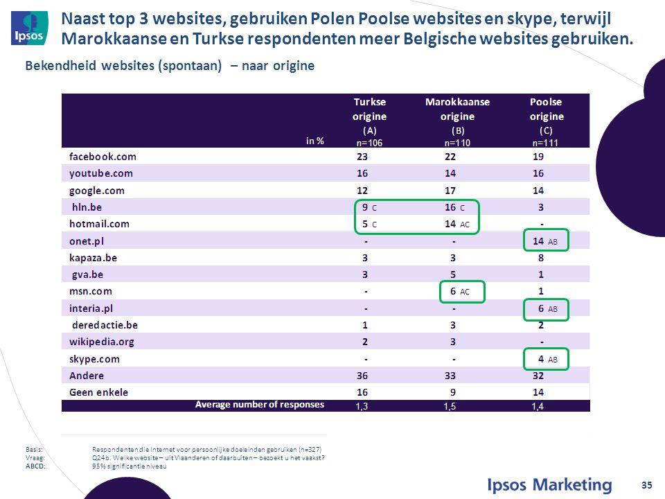 Naast top 3 websites, gebruiken Polen Poolse websites en skype, terwijl Marokkaanse en Turkse respondenten meer Belgische websites gebruiken.