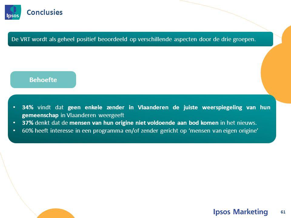• 34% vindt dat geen enkele zender in Vlaanderen de juiste weerspiegeling van hun gemeenschap in Vlaanderen weergeeft • 37% denkt dat de mensen van hun origine niet voldoende aan bod komen in het nieuws.
