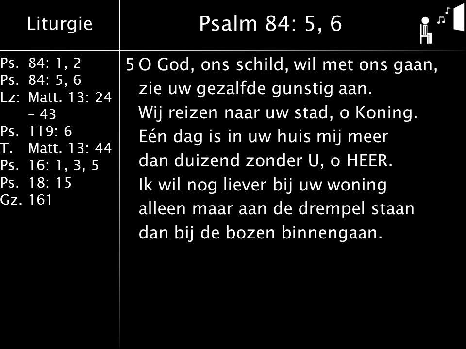 Liturgie Ps.84: 1, 2 Ps.84: 5, 6 Lz:Matt. 13: 24 – 43 Ps.119: 6 T.Matt. 13: 44 Ps.16: 1, 3, 5 Ps.18: 15 Gz.161 5O God, ons schild, wil met ons gaan, z