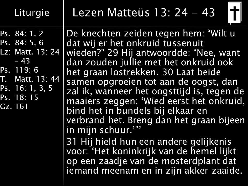 """Liturgie Ps.84: 1, 2 Ps.84: 5, 6 Lz:Matt. 13: 24 – 43 Ps.119: 6 T.Matt. 13: 44 Ps.16: 1, 3, 5 Ps.18: 15 Gz.161 De knechten zeiden tegen hem: """"Wilt u d"""