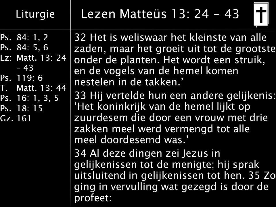 Liturgie Ps.84: 1, 2 Ps.84: 5, 6 Lz:Matt. 13: 24 – 43 Ps.119: 6 T.Matt. 13: 44 Ps.16: 1, 3, 5 Ps.18: 15 Gz.161 32 Het is weliswaar het kleinste van al
