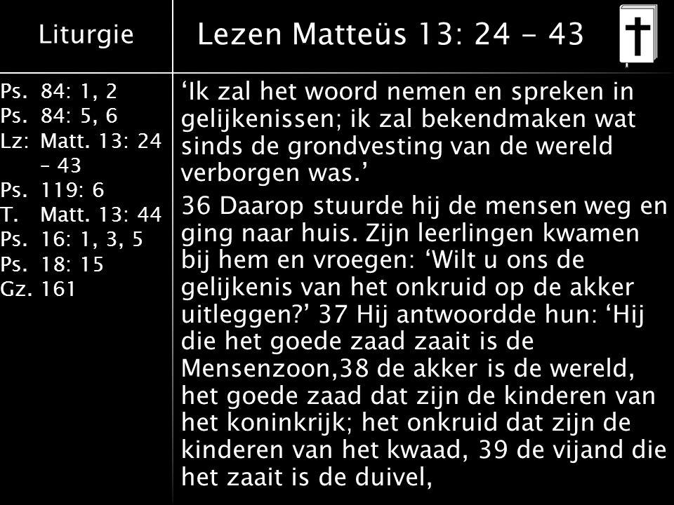 Liturgie Ps.84: 1, 2 Ps.84: 5, 6 Lz:Matt. 13: 24 – 43 Ps.119: 6 T.Matt. 13: 44 Ps.16: 1, 3, 5 Ps.18: 15 Gz.161 'Ik zal het woord nemen en spreken in g