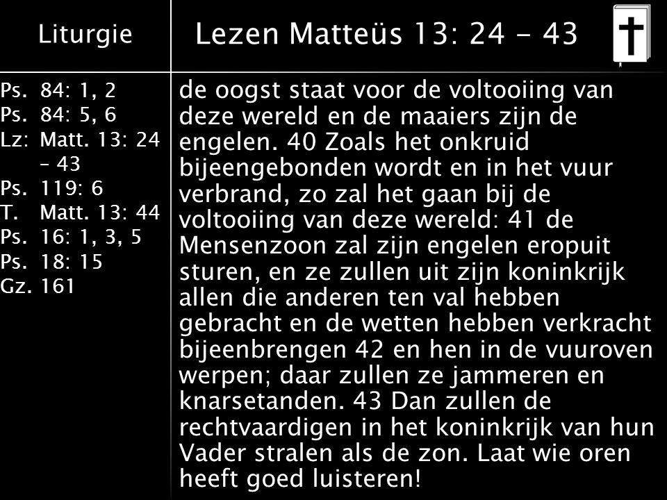 Liturgie Ps.84: 1, 2 Ps.84: 5, 6 Lz:Matt. 13: 24 – 43 Ps.119: 6 T.Matt. 13: 44 Ps.16: 1, 3, 5 Ps.18: 15 Gz.161 de oogst staat voor de voltooiing van d