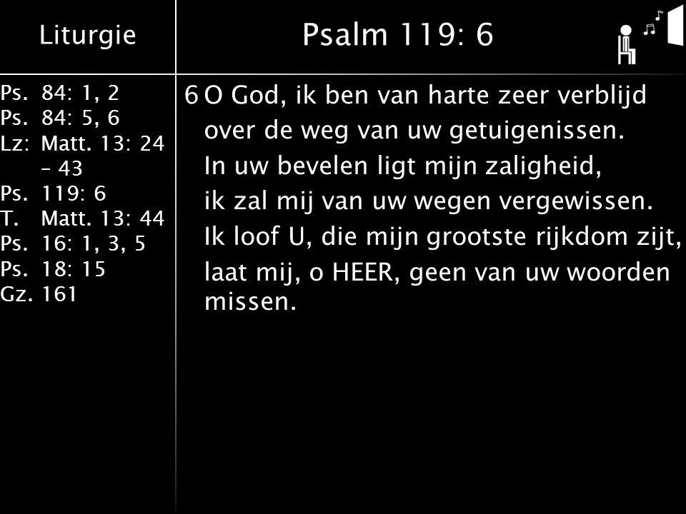 Liturgie Ps.84: 1, 2 Ps.84: 5, 6 Lz:Matt. 13: 24 – 43 Ps.119: 6 T.Matt. 13: 44 Ps.16: 1, 3, 5 Ps.18: 15 Gz.161 6O God, ik ben van harte zeer verblijd
