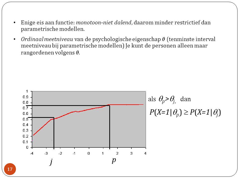 • Enige eis aan functie: monotoon-niet dalend, daarom minder restrictief dan parametrische modellen.