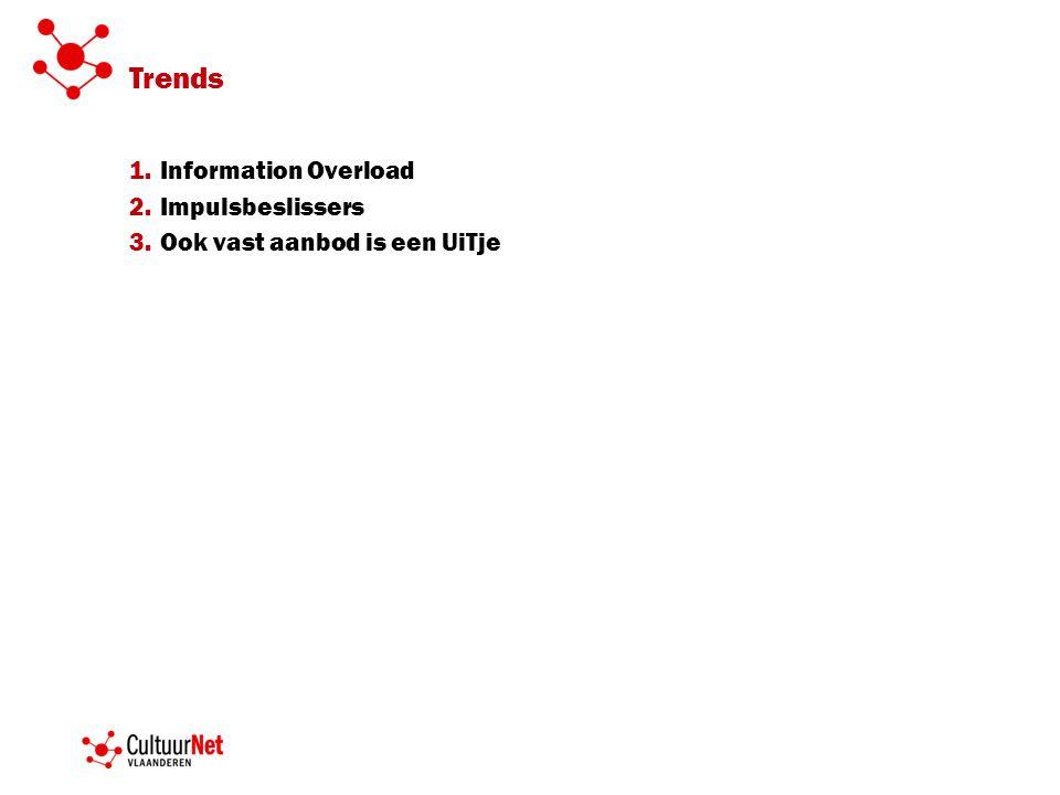 Trends 1.Information Overload 2.Impulsbeslissers 3.Ook vast aanbod is een UiTje