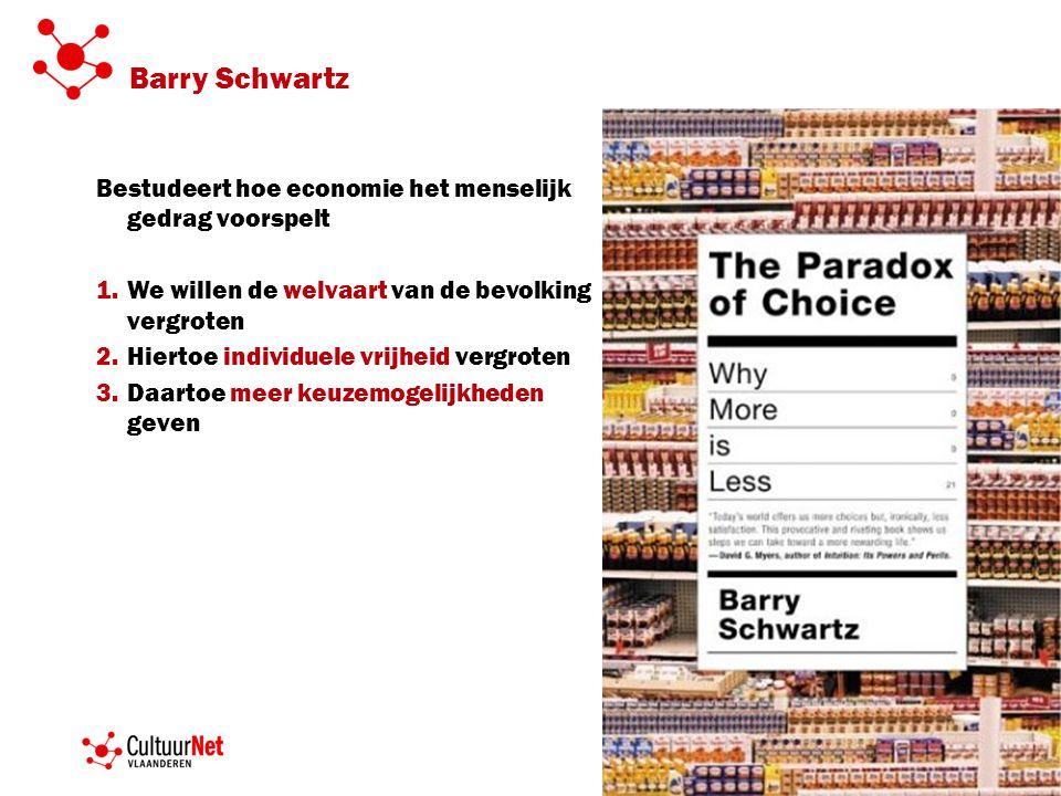Barry Schwartz Bestudeert hoe economie het menselijk gedrag voorspelt 1.We willen de welvaart van de bevolking vergroten 2.Hiertoe individuele vrijheid vergroten 3.Daartoe meer keuzemogelijkheden geven