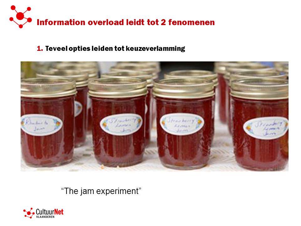 Information overload leidt tot 2 fenomenen 1.Teveel opties leiden tot keuzeverlamming The jam experiment