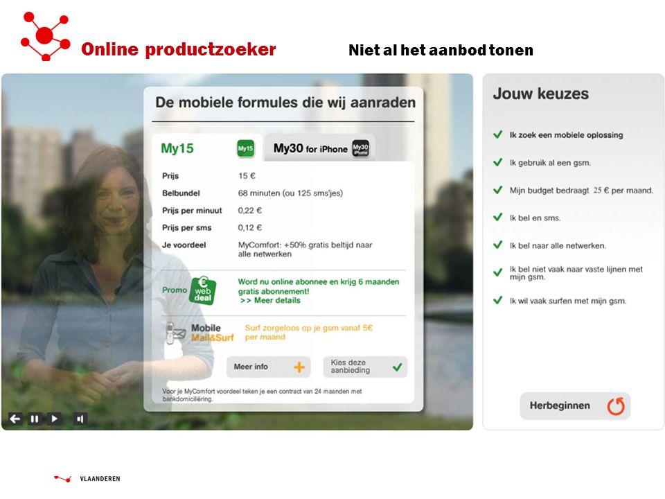 Online productzoeker Niet al het aanbod tonen