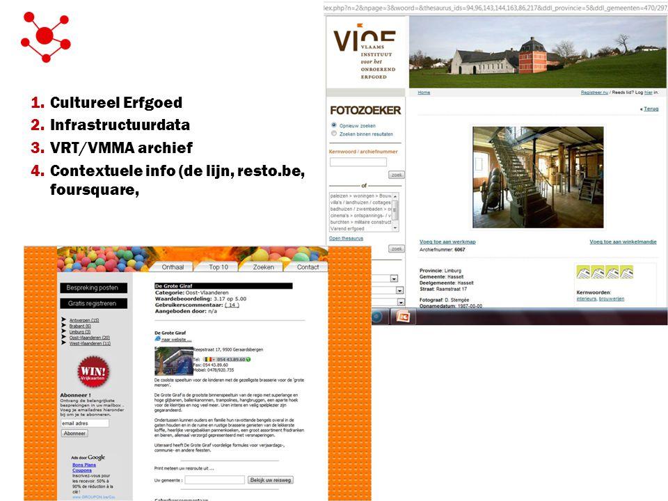 1.Cultureel Erfgoed 2.Infrastructuurdata 3.VRT/VMMA archief 4.Contextuele info (de lijn, resto.be, foursquare,