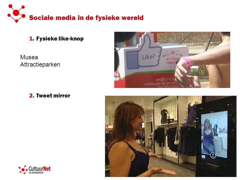 Sociale media in de fysieke wereld 1.Fysieke like-knop 2.Tweet mirror Musea Attractieparken