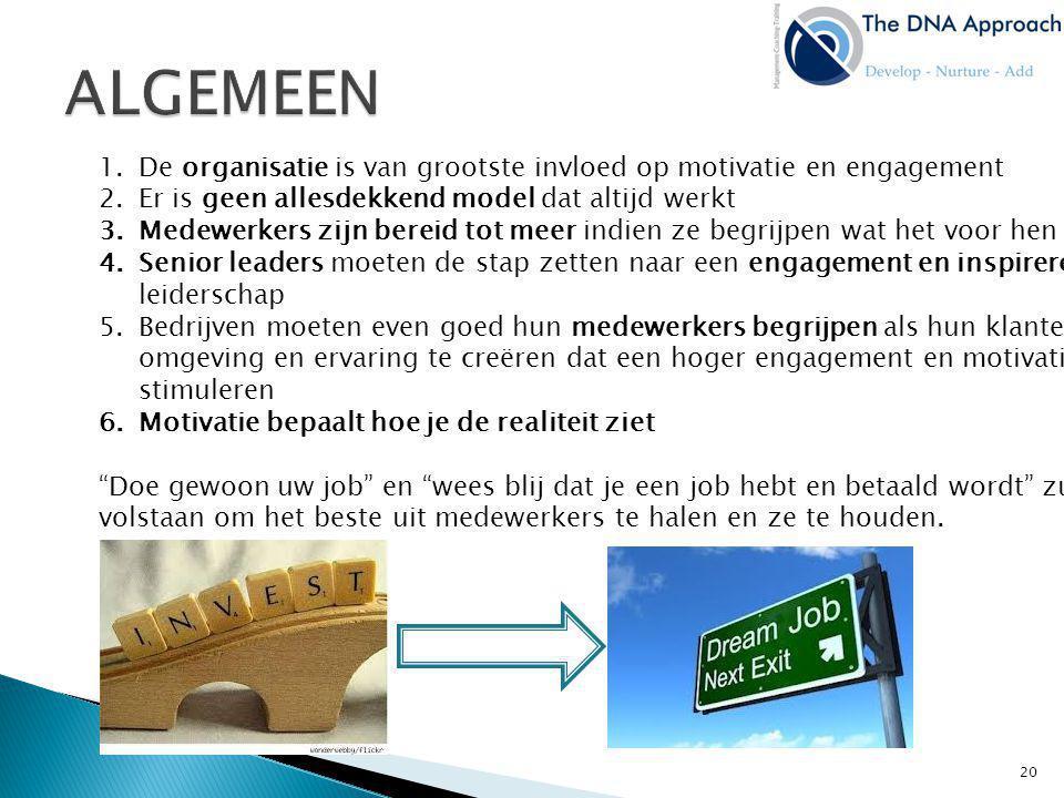 1.De organisatie is van grootste invloed op motivatie en engagement 2.Er is geen allesdekkend model dat altijd werkt 3.Medewerkers zijn bereid tot mee