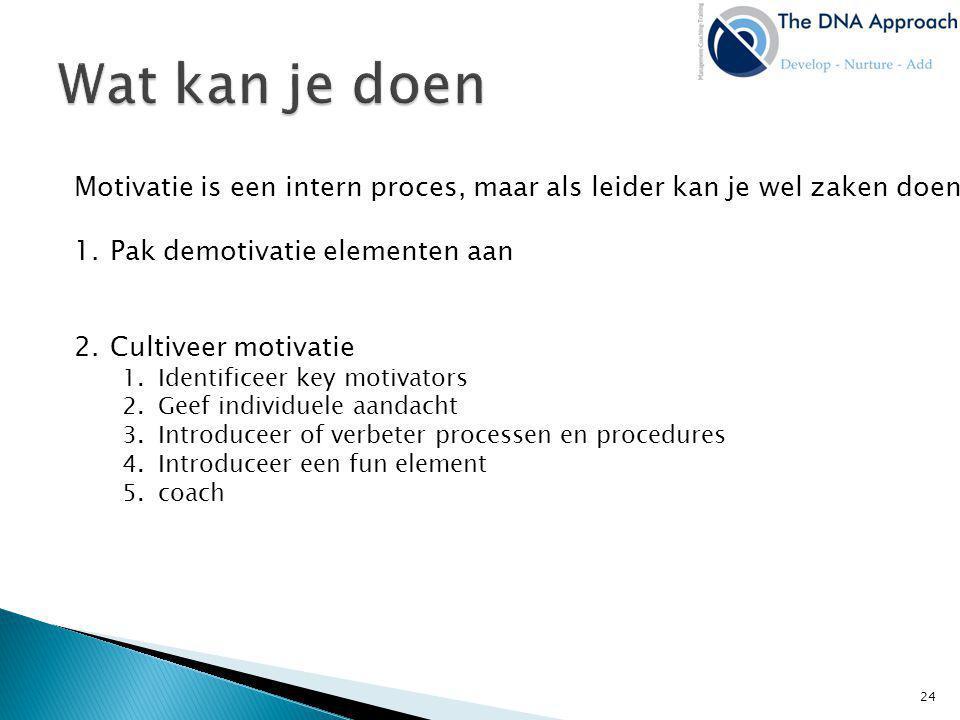 Motivatie is een intern proces, maar als leider kan je wel zaken doen: 1.Pak demotivatie elementen aan 2.Cultiveer motivatie 1.Identificeer key motiva