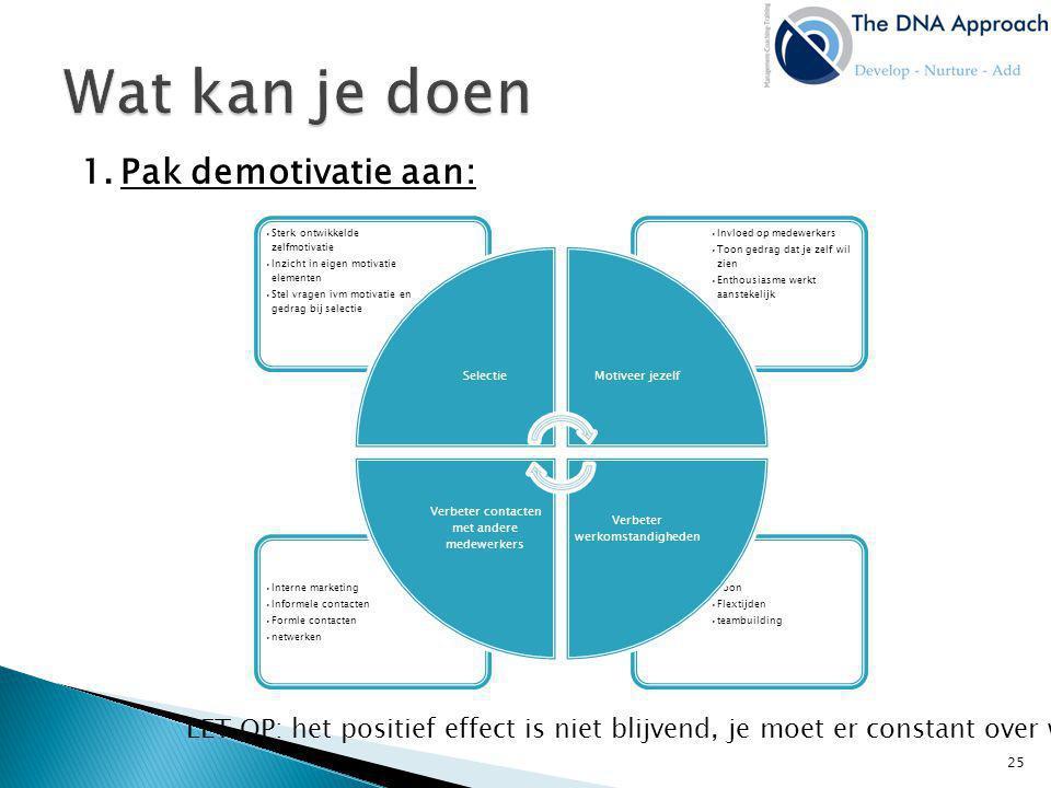 1.Pak demotivatie aan: LET OP: het positief effect is niet blijvend, je moet er constant over waken •Loon •Flextijden •teambuilding •Interne marketing