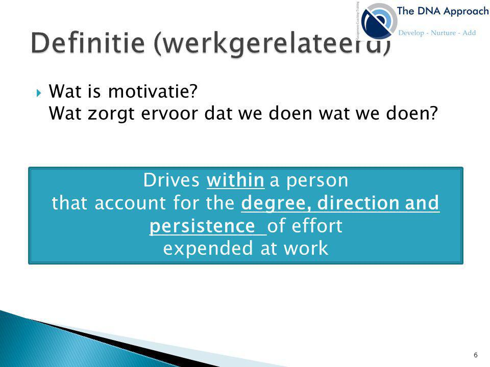 Wat is motivatie? Wat zorgt ervoor dat we doen wat we doen? Drives within a person that account for the degree, direction and persistence of effort