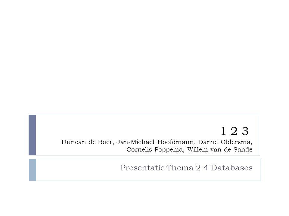 1 2 3 Duncan de Boer, Jan-Michael Hoofdmann, Daniel Oldersma, Cornelis Poppema, Willem van de Sande Presentatie Thema 2.4 Databases