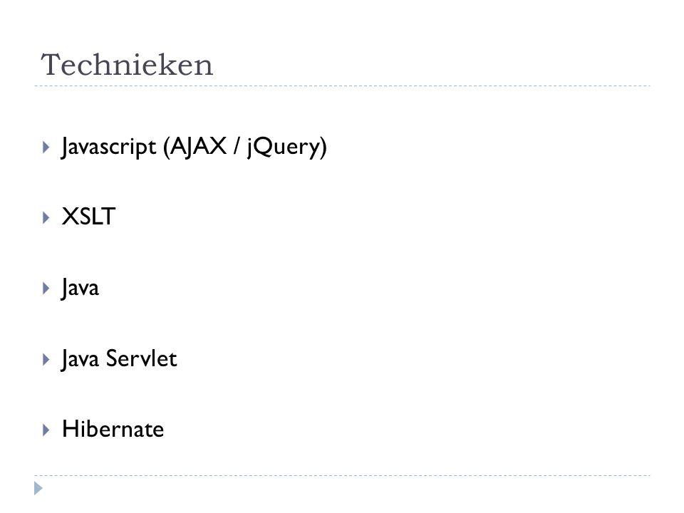 Technieken  Javascript (AJAX / jQuery)  XSLT  Java  Java Servlet  Hibernate