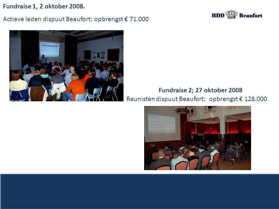 Fundraise 1, 2 oktober 2008. Actieve leden dispuut Beaufort; opbrengst € 71.000 Fundraise 2; 27 oktober 2008 Reunisten dispuut Beaufort; opbrengst € 1