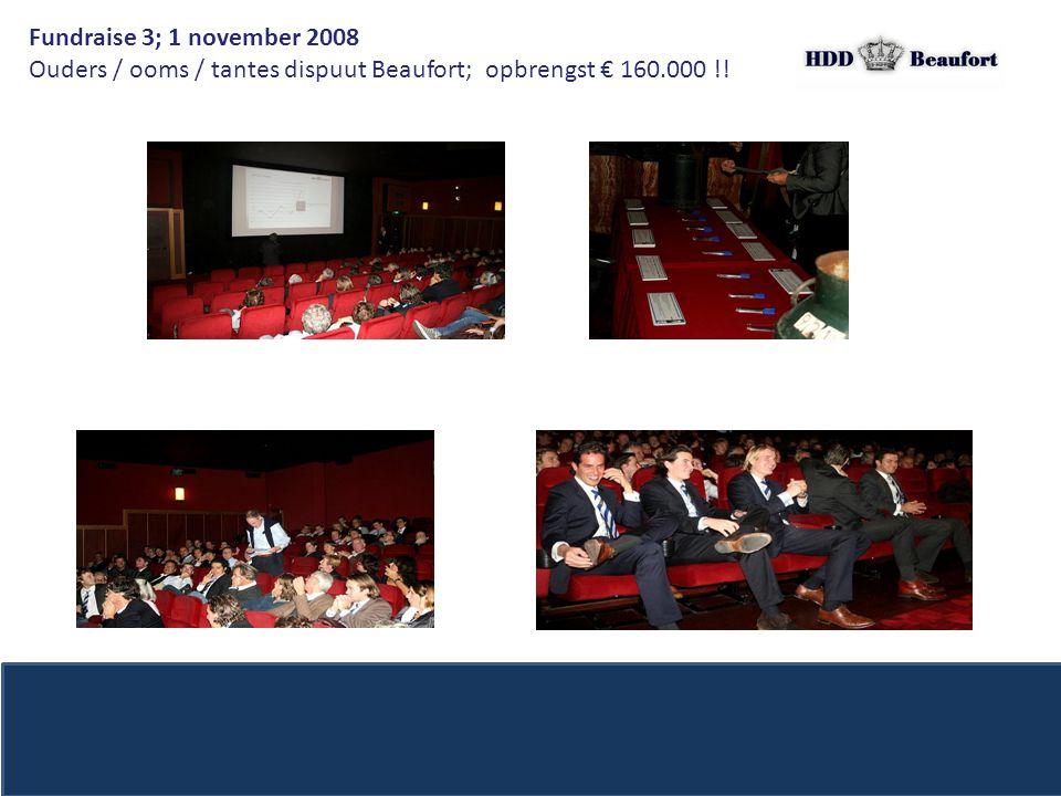 Fundraise 3; 1 november 2008 Ouders / ooms / tantes dispuut Beaufort; opbrengst € 160.000 !!