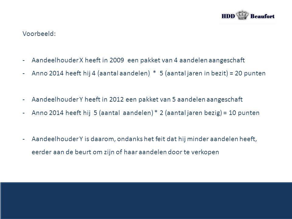 Voorbeeld: -Aandeelhouder X heeft in 2009 een pakket van 4 aandelen aangeschaft -Anno 2014 heeft hij 4 (aantal aandelen) * 5 (aantal jaren in bezit) =
