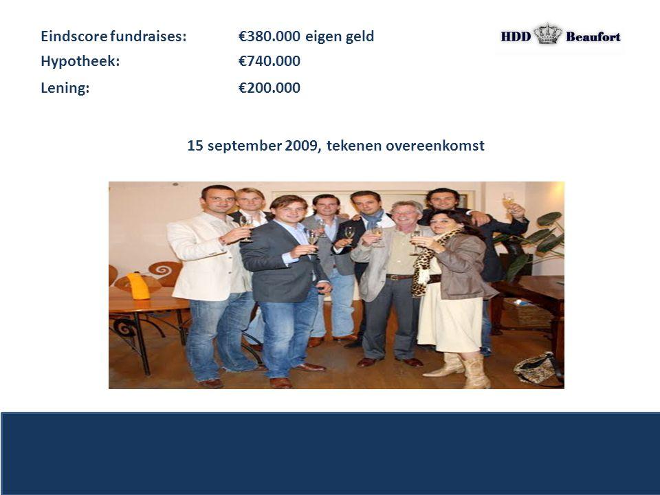 Eindscore fundraises: €380.000 eigen geld 15 september 2009, tekenen overeenkomst Hypotheek: €740.000 Lening: €200.000