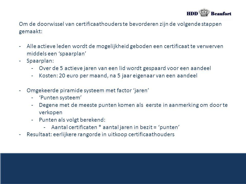 Om de doorwissel van certificaathouders te bevorderen zijn de volgende stappen gemaakt: -Alle actieve leden wordt de mogelijkheid geboden een certific