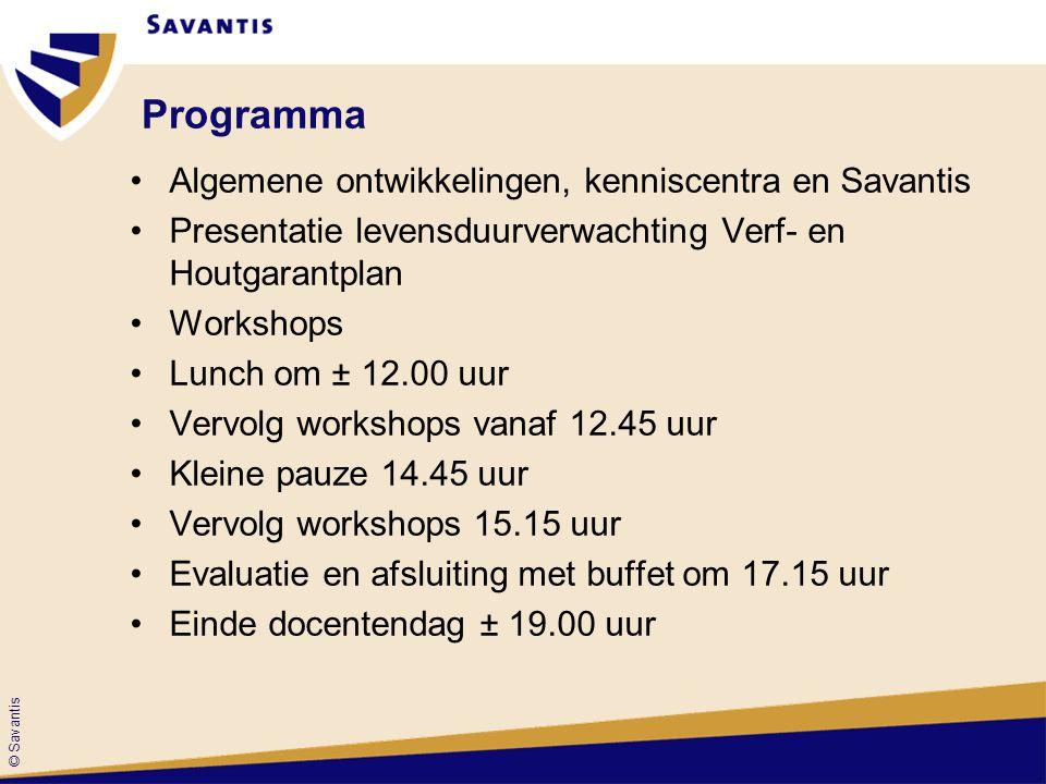 © Savantis Workshops 1 e ronde workshops Van 11.00 uur tot 12.00 uur